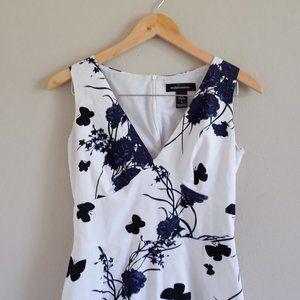 White and Black with Floral Print Cocktail Dress